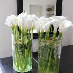 Vasenfüllung mit weißen Callablüten / Blumendeko