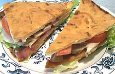 BLT & C SANDWICH/the carbquik artisan flat bread is for low carb /could use any flat bread