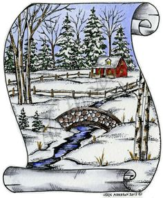 Northwoods Rubber Stamps - Wood Mounted - Scroll Winter Scene