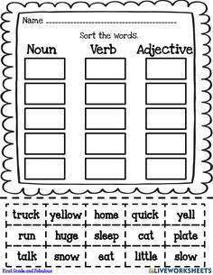 2nd Grade Grammar, 1st Grade Writing, First Grade Reading, First Grade Classroom, Nouns First Grade, Nouns And Verbs Worksheets, Adjective Worksheet, Nouns And Adjectives, Adverbs