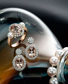 18k red and white gold morganite, pearl and diamond ring, & 18k red and white gold morganite and diamond earrings