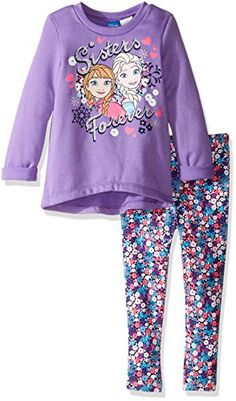Disney Little Girls Toddler Frozen Sisters Legging Set with Fleece Top Purple 2T >>> Want to know more, click on the image.Note:It is affiliate link to Amazon.