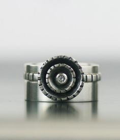 white sapphire engagement ring - unique wedding band set - sapphire starburst sterling silver stacking set