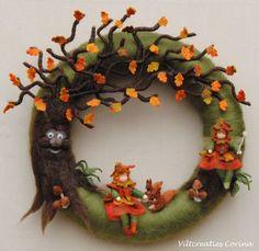 Fall felt wreath by Viltcreaties Corina Crochet Wreath, Felt Wreath, Wreath Crafts, Wool Dolls, Felt Dolls, Waldorf Crafts, Felt Tree, Needle Felting Tutorials, Felt Fairy