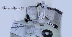 Faire-part et décoration mariage thème vintage noir et blanc