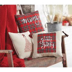 "Tartan Christmas Pillow - Tree - 1/each Overview: Linen canvas pillow featuring printed Christmas sentiment Details: Size: 14"" x 14"""