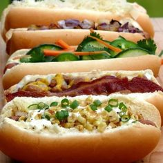 Hot Dog Bar ~ Hot Dogs Five Ways http://noblepig.com/2012/06/hot-dog-bar-hot-dogs-five-ways/