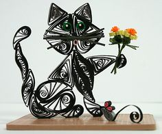 Quilled Kitty Cat All Dark Gray Kitty with by AGiftwithinaGift, $24.95
