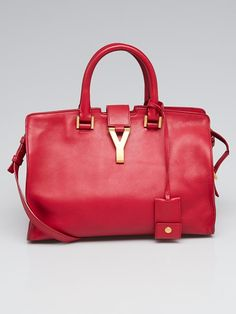 3607a322cffa Yves Saint Laurent Red Calfskin Leather Small Cabas ChYc Bag - Yoogi s  Closet Yves Saint Laurent
