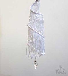 Enfeite de natal pingente usando franjas.  #natal #christmas #craft #diy
