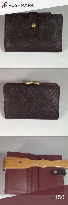 Authentic Louis Vuitton Porte Monaire Brown Wallet Canvas and leather showed signs of used. The wallet was made in France with a date code. The dimension is 3.5, 5.5 and 1. Louis Vuitton Accessories