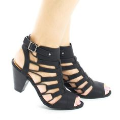 08f630664a3 Awesome Peep Toe Elasticized Caged Ankle Chunky Heels Dress Sandals
