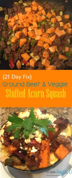21 Day Fix Ground Beef & Veggie Stuffed Acorn Squash | FitMomAngelaD.com | Clean Eats | Healthy Fall Recipe | Healthy Dinner | Perfect for Fall | Easy Dinner Recipe