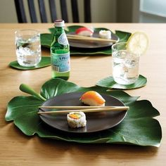 These banana leaf placemats that'll probably make dinner taste 10x better. | 24 Unexpected Ways To Add Greenery To Your Home