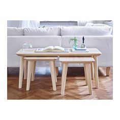 $129 LISABO Coffee table  - IKEA does not come with smaller stools at $79.99 apiece