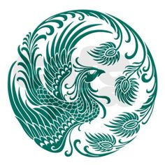 This unique design features a traditional Chinese phoenix in a circular pattern. This stunning design is a beautiful representation of this mythical flying creature.