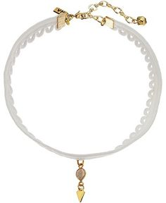 Vanessa Mooney White Lace Choker with Laborite and Gold Teardrop Necklace