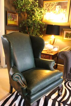 Genial Ethan Allen Design  Giles Chair, Green Leather With Brass Nail Head And  Zebra