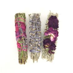 WILD FLOWERS  SMUDGE TRIO- Bundles of beautiful Flowers, Roses and Lavender. This Wild Flower Sage smudge stick trio is perfect for Cleansing a sacred space of negative energy, the Sage combined with flowers promotes healing, positive love and light vibrations.  All hand wrapped under the best moon cycles for Amplified energy.