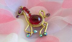 Vintage Horse Brooch Pin Jelly Belly by WeeLambieVintage on Etsy, $14.00