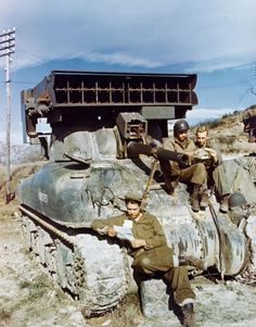 """France, 1943-1944, a US Sherman tank equipped with """"whizz-bang"""" rockets ~"""