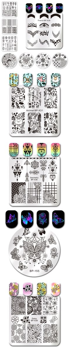 BORN PRETTY Square Round Stamping Plate Nail Art Stamp Template 20 Different Design Image Plate Nail Art Stamping Tools