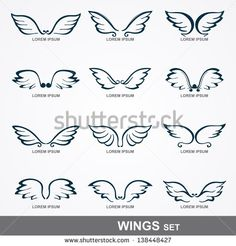 wings collection (set of wings) - stock vector