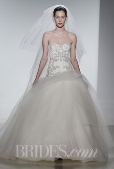 """Brides.com: . """"Kylie"""" intricately hand beaded silk charmeuse strapless ball gown, Kenneth Pool"""