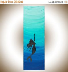 """❘❘❙❙❚❚ ON SALE ❚❚❙❙❘❘   ***TITLE: """"Mermaid 2""""  ***SIZE: 8"""" x 24"""" x 0.8""""  ***THEME: Fictional aquatic creature, mermaid.  ***MEDIUM: Professional grade acrylics or oils on stretched canvas. The sides are painted black, so theres no need to frame it. A coating of varnish is applied to protect the painting.  ***SHIPPING: Canada Post Expedited to US or Canada. Your art will be shipped to you professionally packed with protective packaging material. If you are not in North America and require…"""