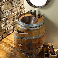 Reclaimed Wine Barrel Vanity at Wine Enthusiast - $1,495.00