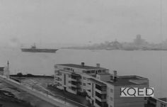 The Big E passing Alcatraz during the Indian Occupation. It was stationed at Alameda during this time.  The screen shot is from an archived KQED TV program about the Indian Occupation.