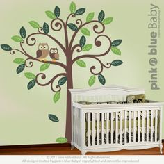Owls and Swirly Tree  Nursery Kids Removable Wall by pinknbluebaby, $95.00
