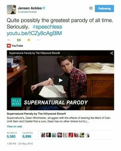 Jensen Ackles on The Hillywood Show's Supernatural Parody