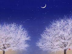 夢見月  2013年-15-野地美樹子 Japanese Art Styles, Japanese Patterns, Oriental Pattern, Japanese Painting, Japan Art, Tree Art, Painting & Drawing, Flower Art, Landscape Paintings