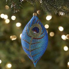 European Glass Peacock Drop Ornament