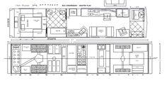 School bus conversion, a.k.a. skoolie, floor plan drawing