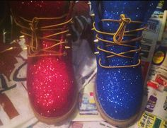Hey, I found this really awesome Etsy listing at https://www.etsy.com/listing/242335183/spiked-glitter-timberland-boots-all