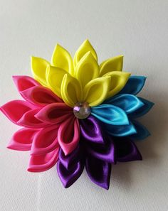 Hair+Clip+Flower++Rainbow+Flower++Flower+Hair+Clip++Flower