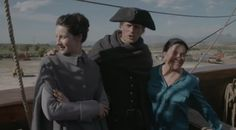 Caitriona Balfe and Sam Heughan with Diana Gabaldon aboard the ship that is being used for Season 3 Outlander in Cape Town, Africa - April 3rd, 2017