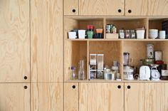 small kitchen design detail in pine plywood