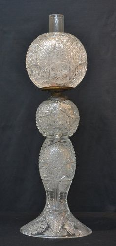 BRILLIANT CUT GLASS OIL LAMP MARKED MILLER, :