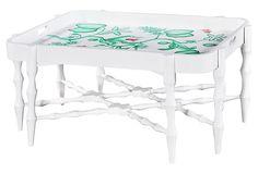Horn Tray Table, White/Green on OneKingsLane.com