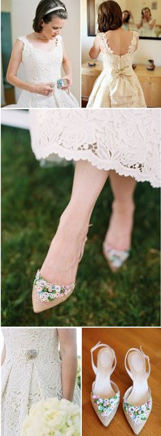 tea length lace wedding dress, and to die for shoes
