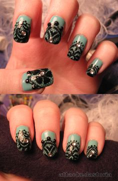 teal blue x black x rhinestone lace nails