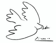 Pablo Picasso - Friedenstaube __ Das Motiv der Taube auf dem Plakat, das er im Jahr 1949 für den Pariser Weltfriedenskongress entwarf, wurde weltweit zum Friedenssymbol.