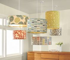 Galbraith & Paul Large Drum Pendant Lamps. Can't swing that price - time to force myself to be crafty.