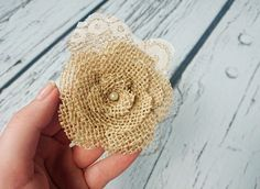Bobby pin wedding hair clip  burlap and lace handmade flower bridal hair piece pearl rustic custom - pinned by pin4etsy.com
