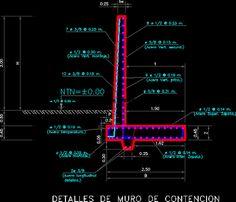 Plan dun Mur de soutènement en dwg | Génie civil et Travaux Publics Engineering