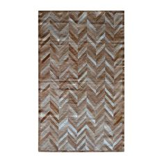 Natural Stitch Hide Rug in Parquet Tan (NATURAL2 1063331)