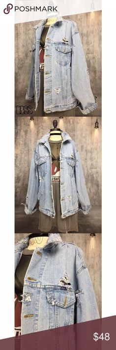 VINTAGE REWORKED DISTRESSED BOYFRIEND DENIM JACKET VINTAGE REWORKED DISTRESSED BOYFRIEND DENIM JACKET!! Amazing vintage 100% COTTON denim jacket with distressing all over! Fabric is extremely worn in! Your going to LIVE in this! PERFECT FOR SPRING! HARA BASIC JEANS! Oversized boyfriend shape is a great STYLING piece. Wear it all over town from the beach to cocktails! Light blue denim wash. MEASUREMENTS - BUST: 22.5' / LENGTH: 27' Marked size LARGE. #unisex #mens #men #summer #grunge Vintage…
